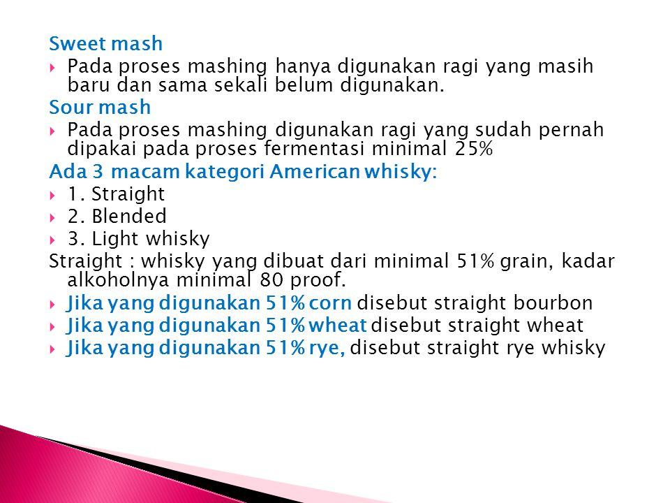 Sweet mash Pada proses mashing hanya digunakan ragi yang masih baru dan sama sekali belum digunakan.