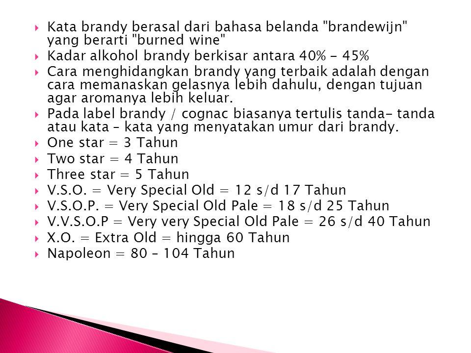 Kata brandy berasal dari bahasa belanda brandewijn yang berarti burned wine