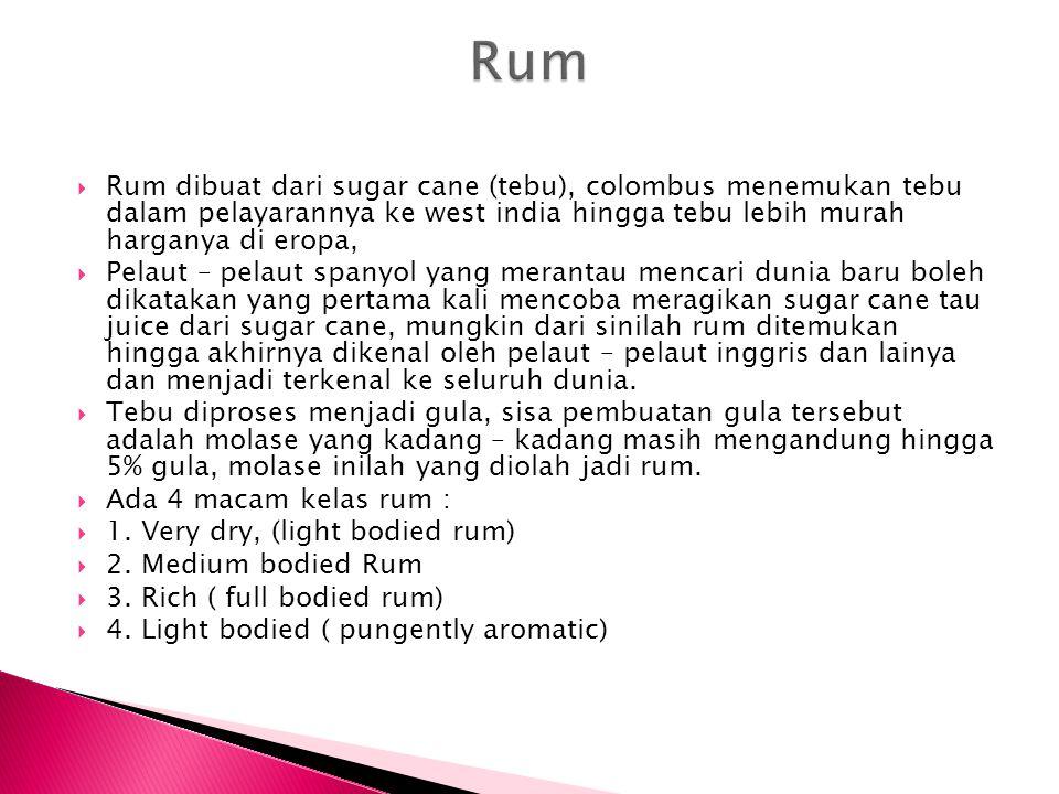 Rum Rum dibuat dari sugar cane (tebu), colombus menemukan tebu dalam pelayarannya ke west india hingga tebu lebih murah harganya di eropa,