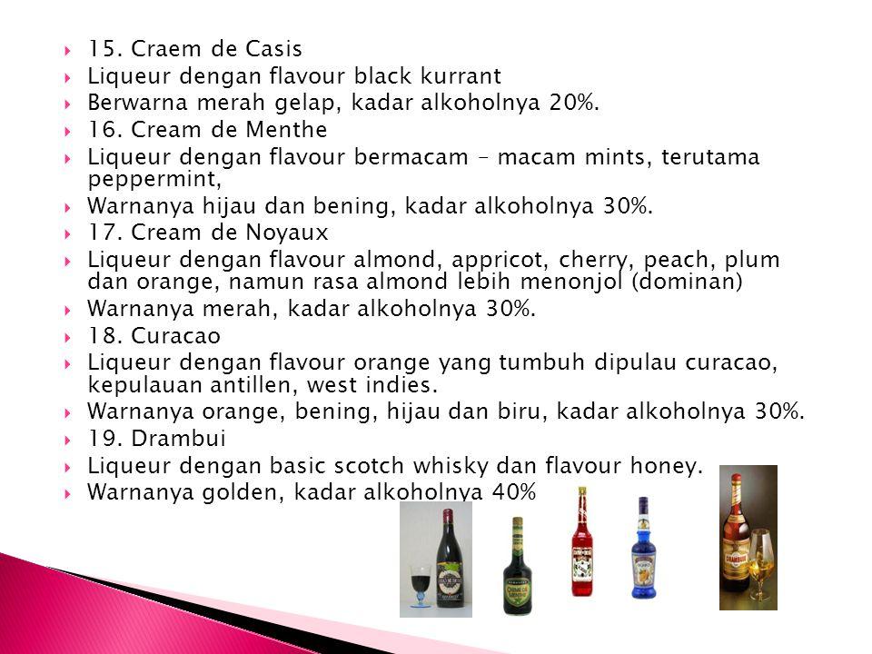 15. Craem de Casis Liqueur dengan flavour black kurrant. Berwarna merah gelap, kadar alkoholnya 20%.