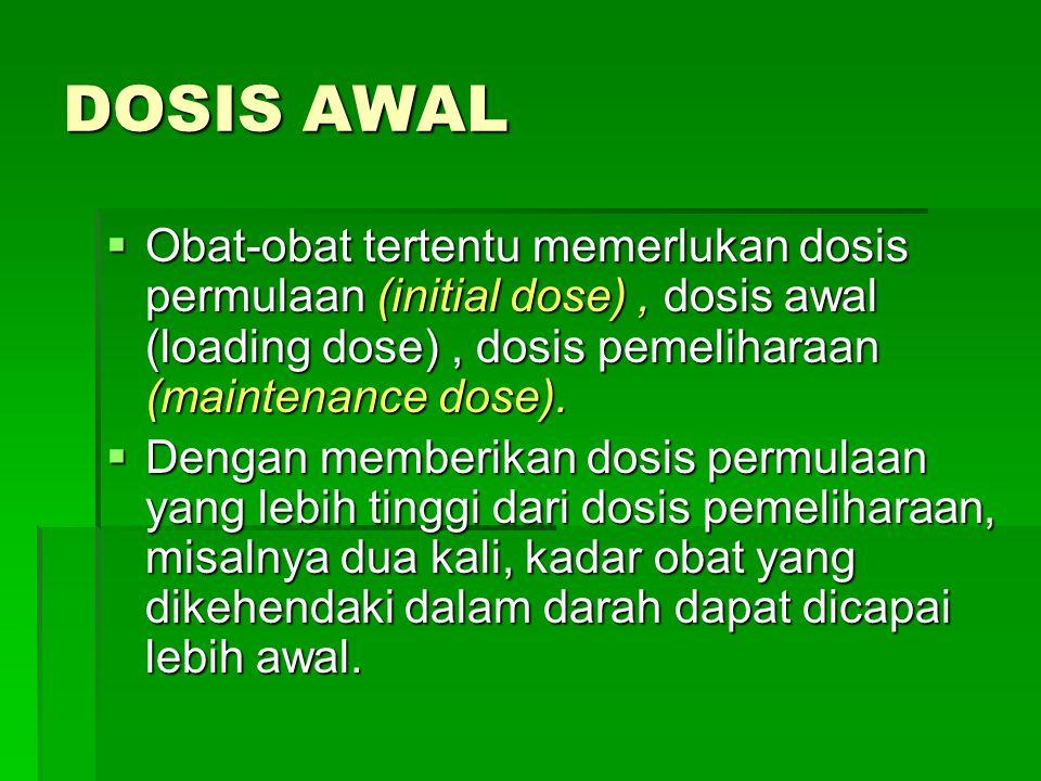 DOSIS AWAL Obat-obat tertentu memerlukan dosis permulaan (initial dose) , dosis awal (loading dose) , dosis pemeliharaan (maintenance dose).