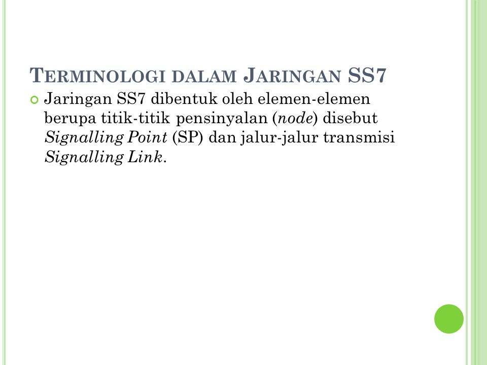 Terminologi dalam Jaringan SS7