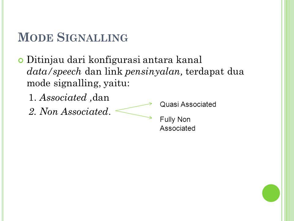 Mode Signalling Ditinjau dari konfigurasi antara kanal data/speech dan link pensinyalan, terdapat dua mode signalling, yaitu: