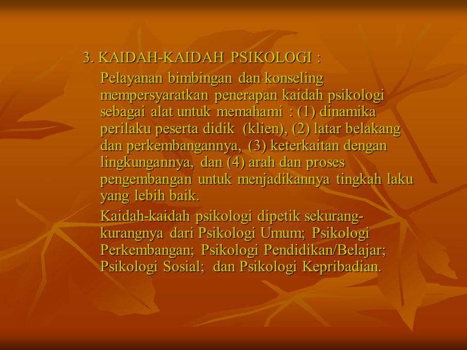 3. KAIDAH-KAIDAH PSIKOLOGI :