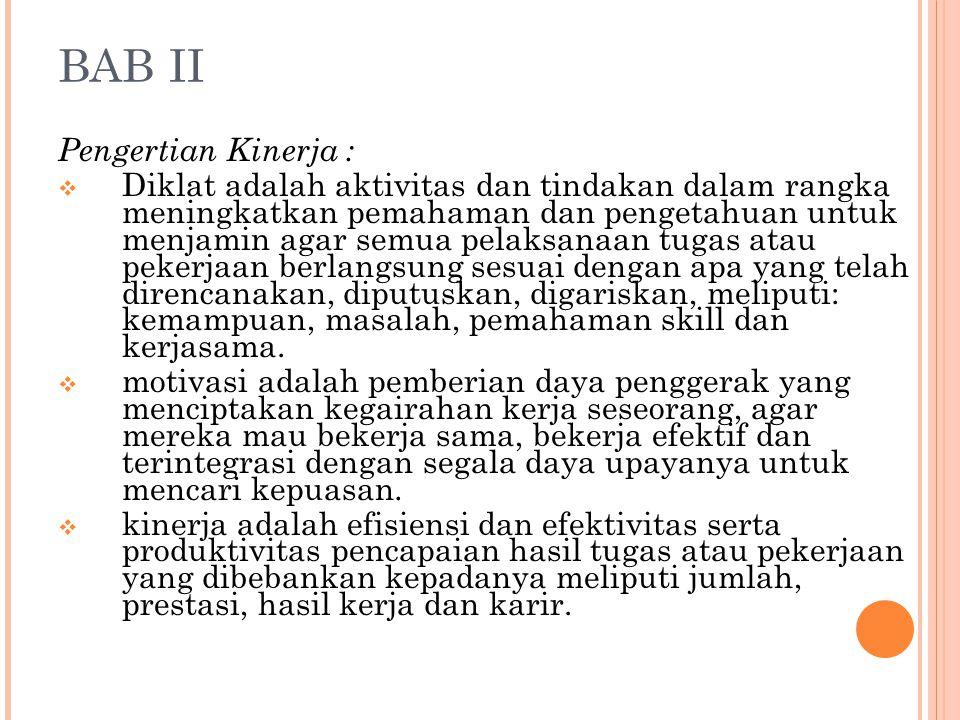 BAB II Pengertian Kinerja :