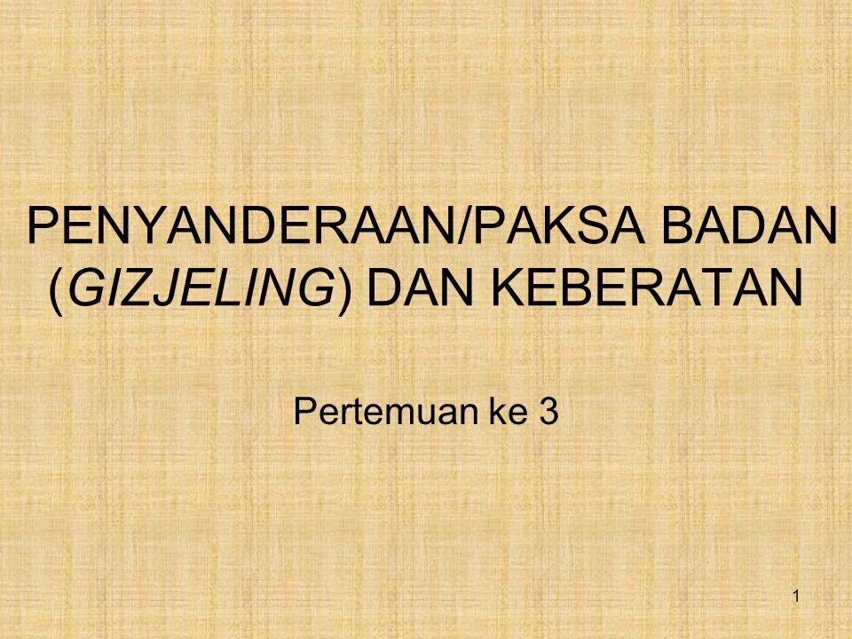 PENYANDERAAN/PAKSA BADAN (GIZJELING) DAN KEBERATAN