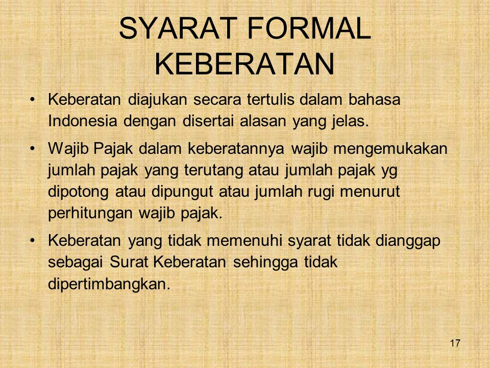 SYARAT FORMAL KEBERATAN