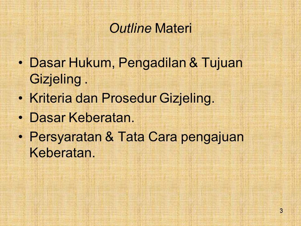 Outline Materi Dasar Hukum, Pengadilan & Tujuan Gizjeling . Kriteria dan Prosedur Gizjeling. Dasar Keberatan.