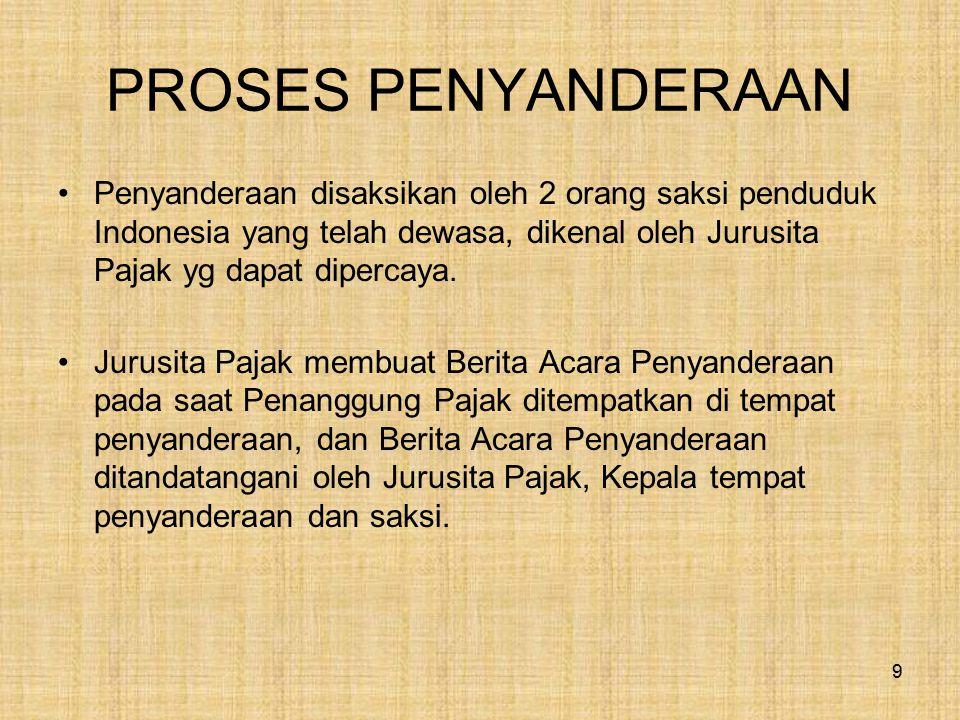 PROSES PENYANDERAAN Penyanderaan disaksikan oleh 2 orang saksi penduduk Indonesia yang telah dewasa, dikenal oleh Jurusita Pajak yg dapat dipercaya.