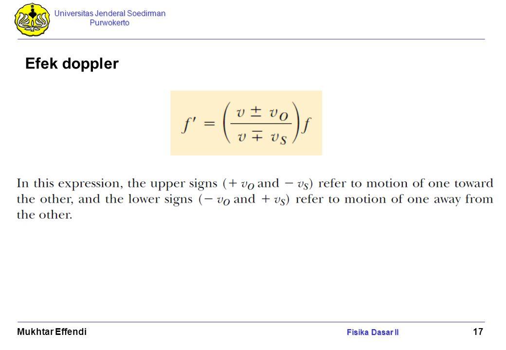 Efek doppler Mukhtar Effendi Fisika Dasar II.