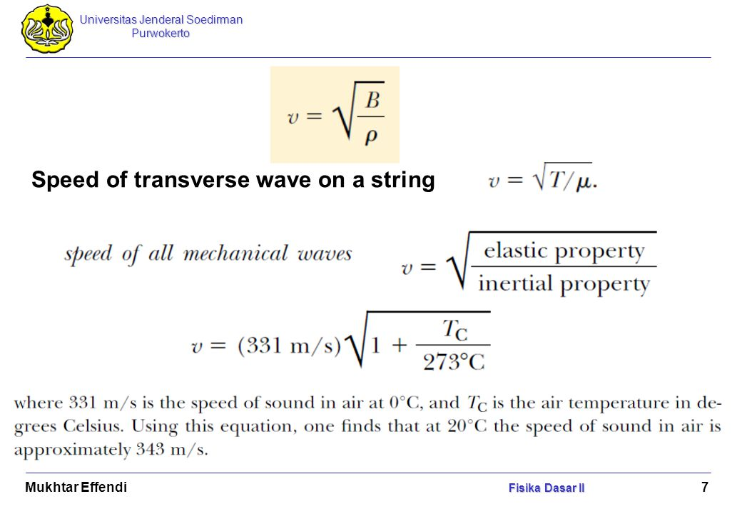 Speed of transverse wave on a string