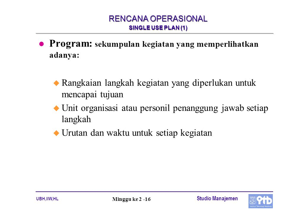 RENCANA OPERASIONAL SINGLE USE PLAN (1)