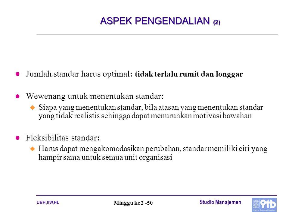 ASPEK PENGENDALIAN (2) Jumlah standar harus optimal: tidak terlalu rumit dan longgar. Wewenang untuk menentukan standar: