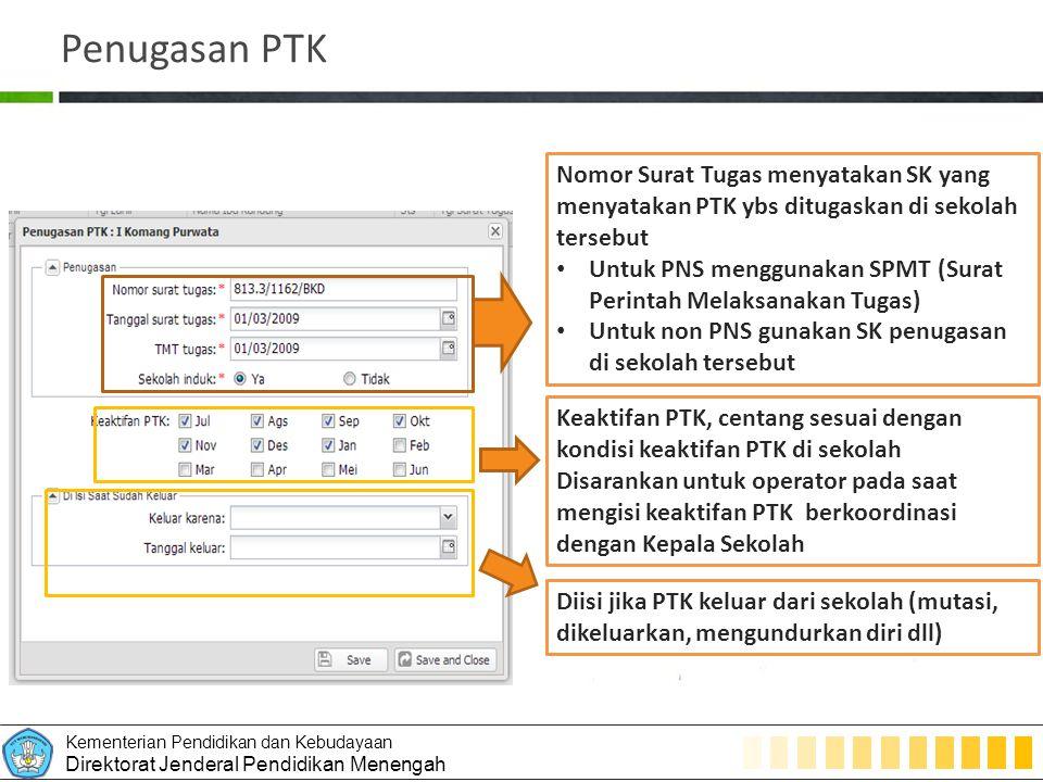 Penugasan PTK Nomor Surat Tugas menyatakan SK yang menyatakan PTK ybs ditugaskan di sekolah tersebut.
