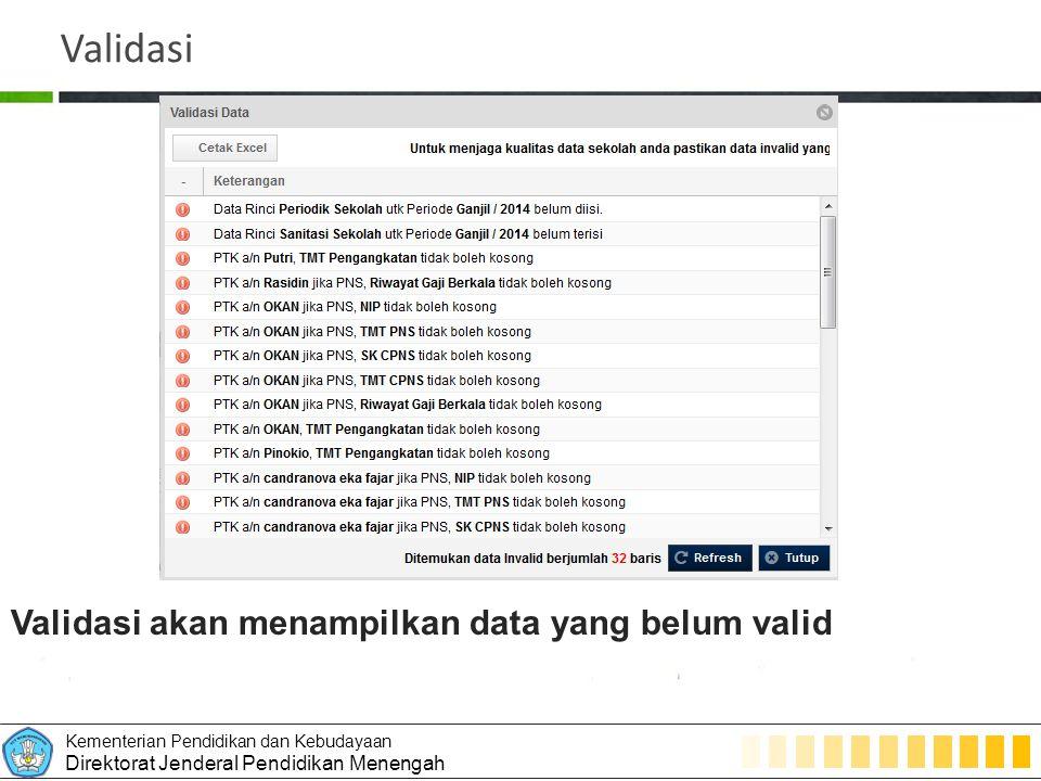 Validasi Validasi akan menampilkan data yang belum valid