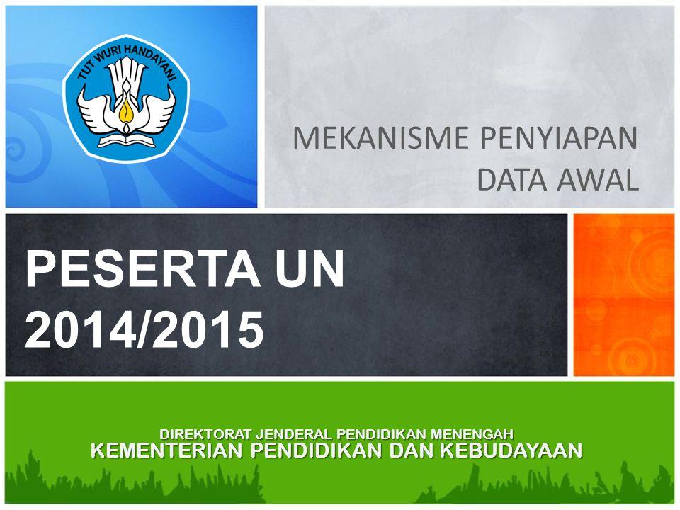 PESERTA UN 2014/2015 MEKANISME PENYIAPAN DATA AWAL