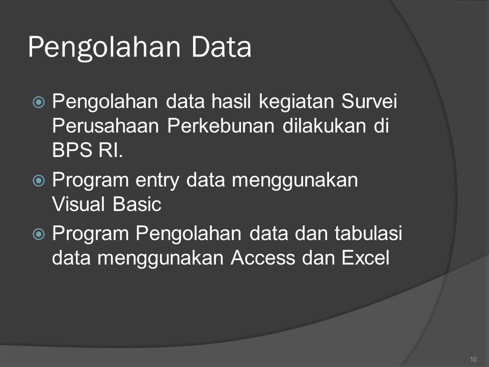 Pengolahan Data Pengolahan data hasil kegiatan Survei Perusahaan Perkebunan dilakukan di BPS RI. Program entry data menggunakan Visual Basic.