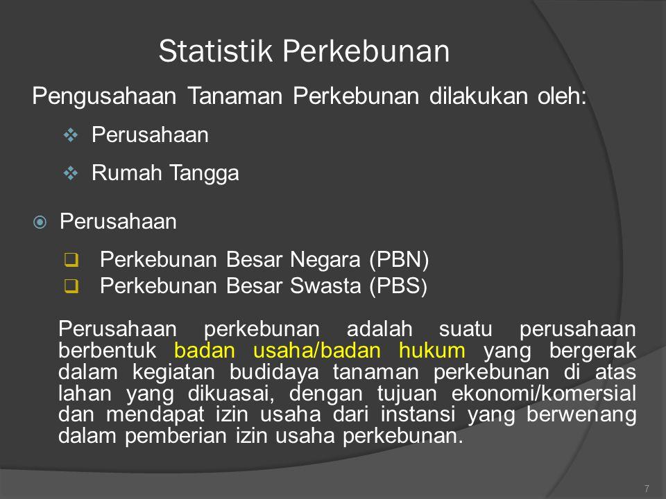Statistik Perkebunan Pengusahaan Tanaman Perkebunan dilakukan oleh: