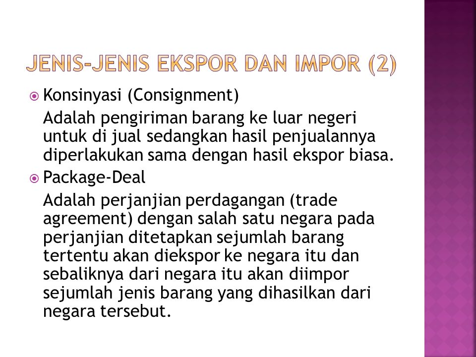 Jenis-jenis Ekspor dan Impor (2)