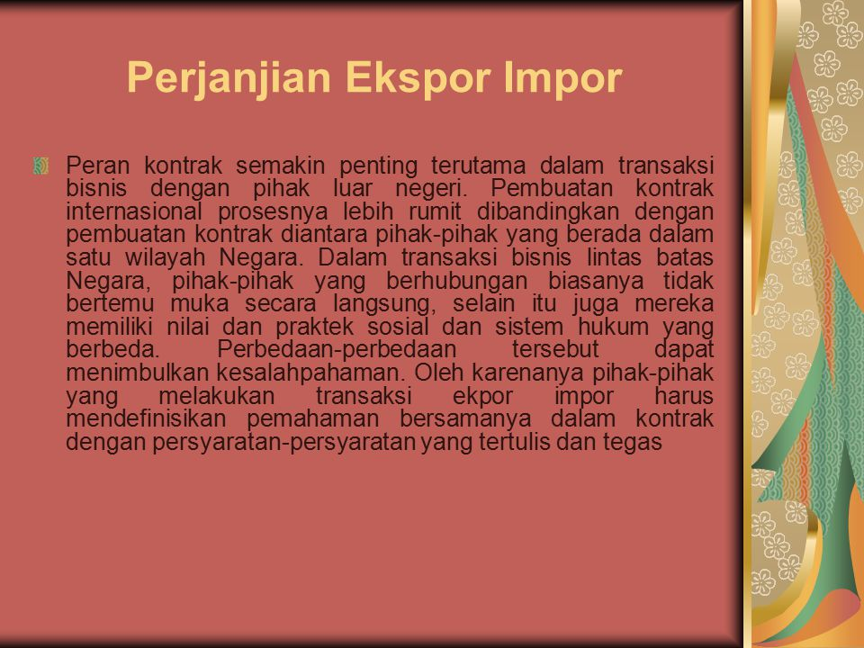 Perjanjian Ekspor Impor