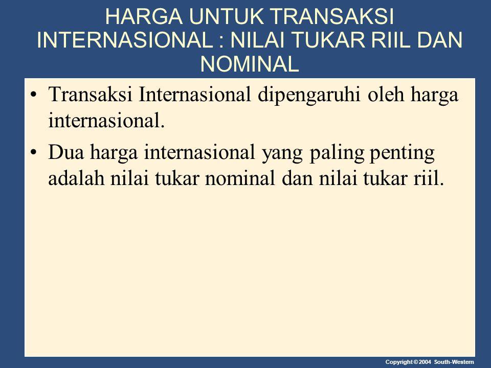 HARGA UNTUK TRANSAKSI INTERNASIONAL : NILAI TUKAR RIIL DAN NOMINAL
