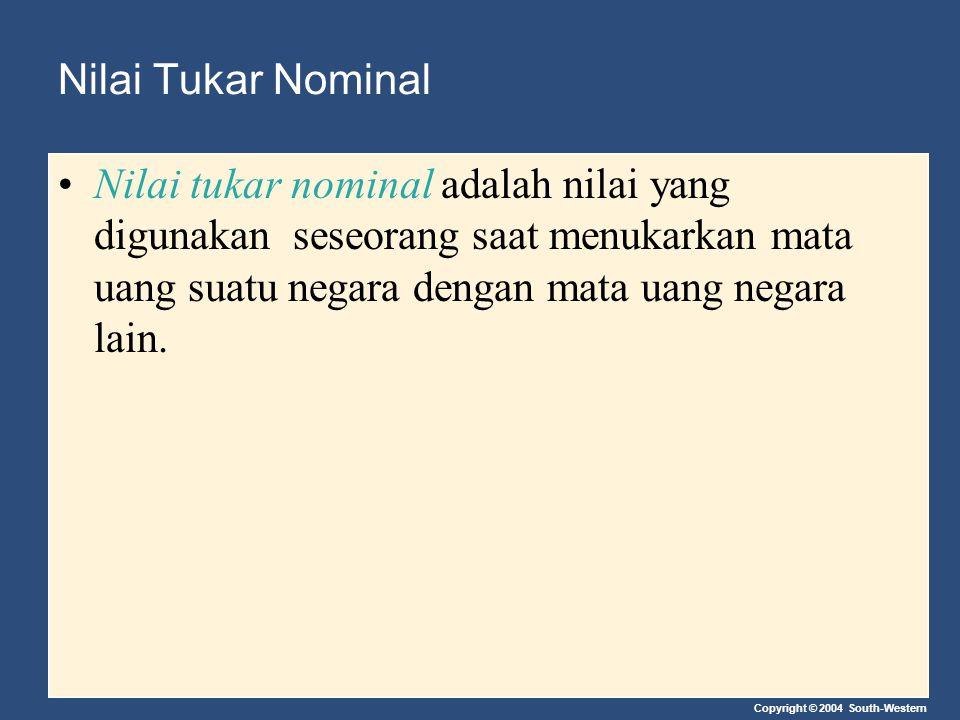 Nilai Tukar Nominal Nilai tukar nominal adalah nilai yang digunakan seseorang saat menukarkan mata uang suatu negara dengan mata uang negara lain.