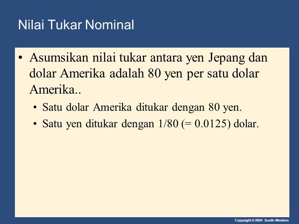 Nilai Tukar Nominal Asumsikan nilai tukar antara yen Jepang dan dolar Amerika adalah 80 yen per satu dolar Amerika..