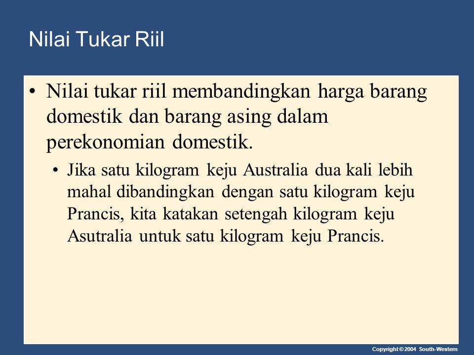 Nilai Tukar Riil Nilai tukar riil membandingkan harga barang domestik dan barang asing dalam perekonomian domestik.