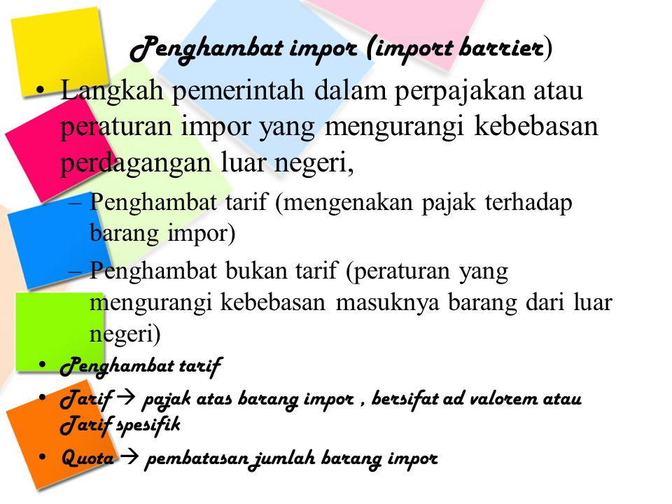 Penghambat impor (import barrier)