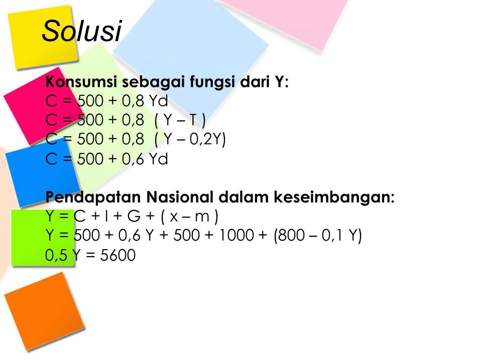 Solusi Konsumsi sebagai fungsi dari Y: C = 500 + 0,8 Yd
