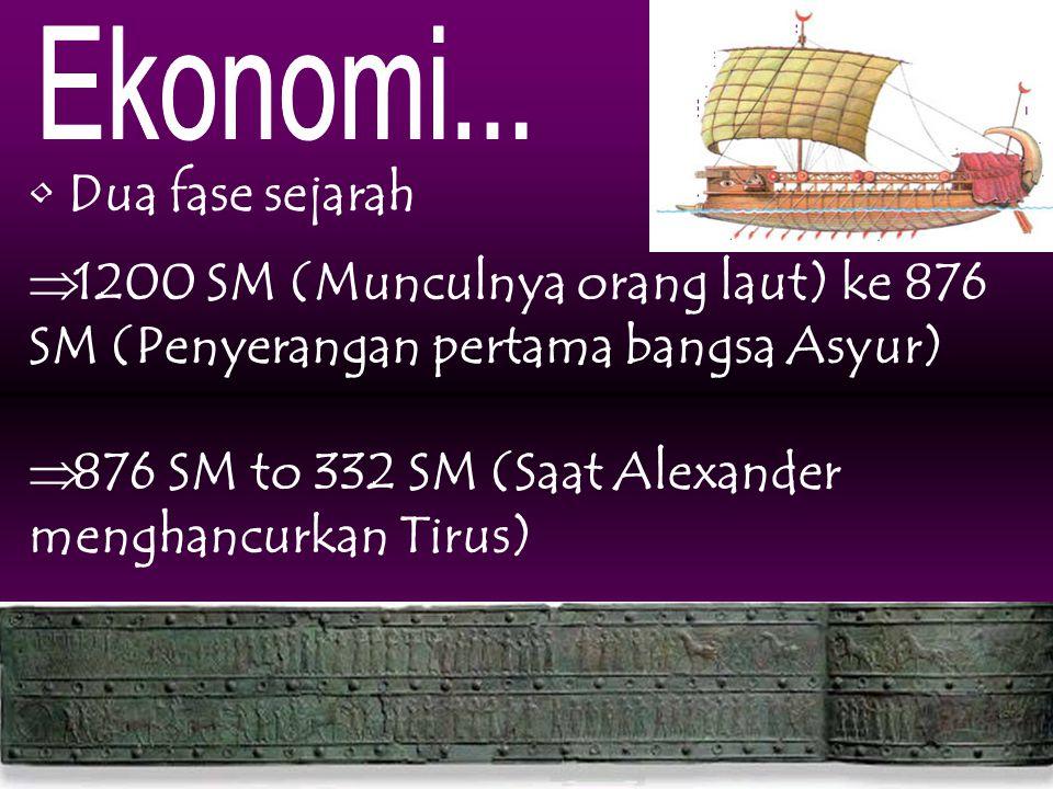 Ekonomi... Dua fase sejarah. 1200 SM (Munculnya orang laut) ke 876 SM (Penyerangan pertama bangsa Asyur)