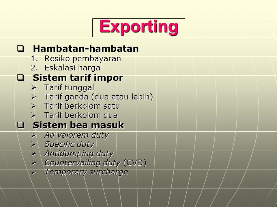 Exporting Hambatan-hambatan Sistem tarif impor Sistem bea masuk