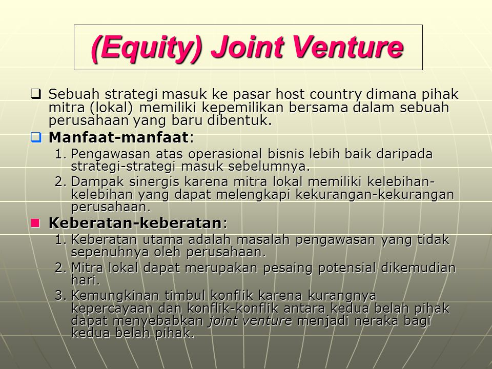 (Equity) Joint Venture