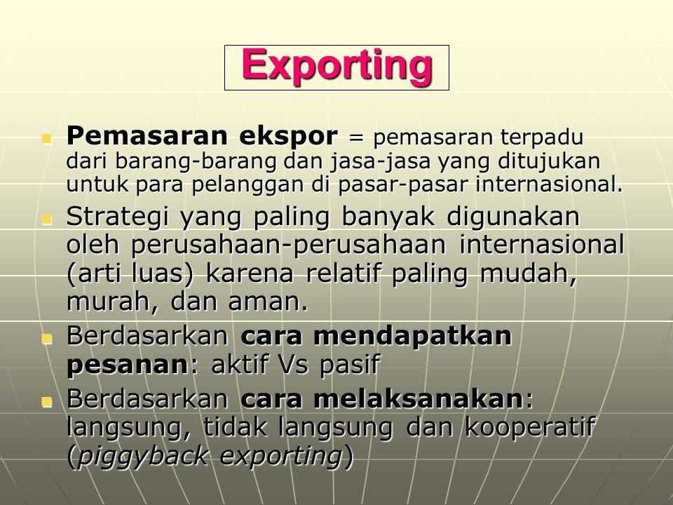 Exporting Pemasaran ekspor = pemasaran terpadu dari barang-barang dan jasa-jasa yang ditujukan untuk para pelanggan di pasar-pasar internasional.