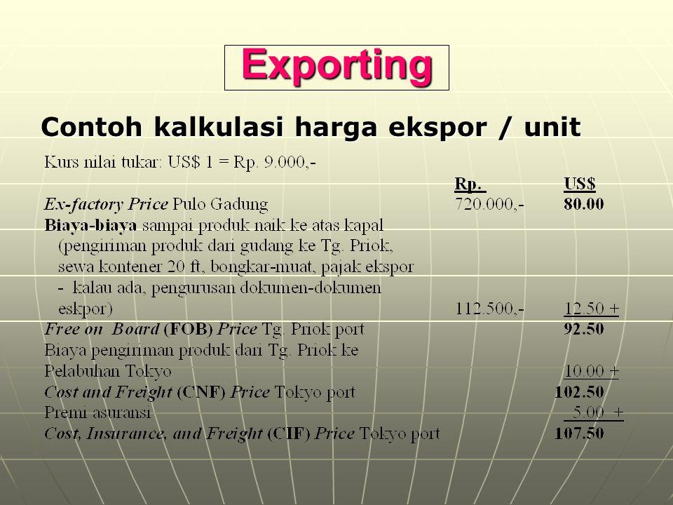 Exporting Contoh kalkulasi harga ekspor / unit