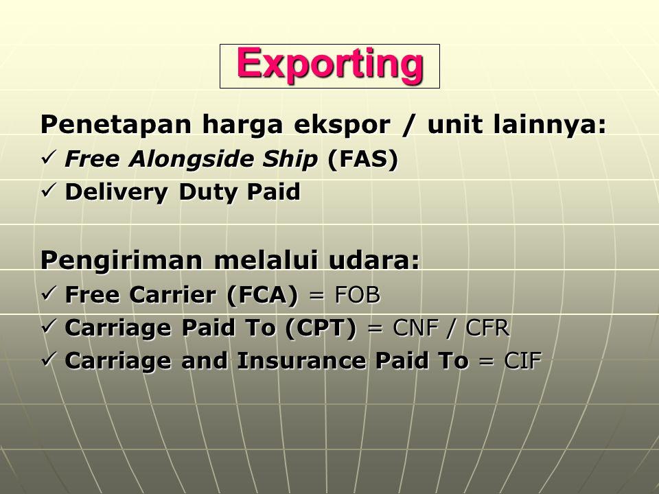 Exporting Penetapan harga ekspor / unit lainnya: