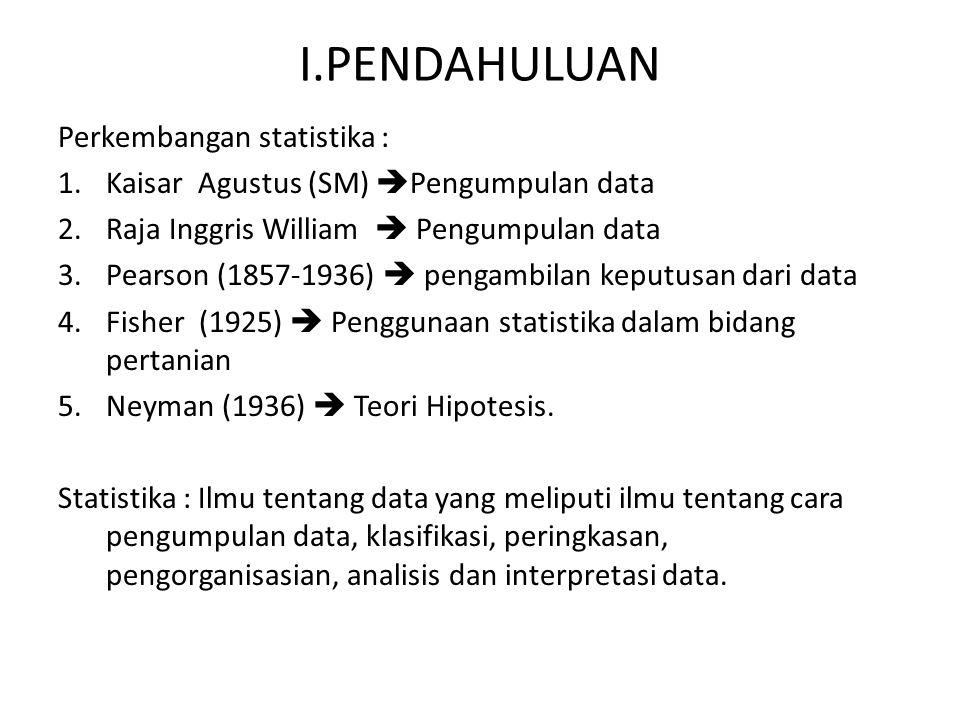 I.PENDAHULUAN Perkembangan statistika :