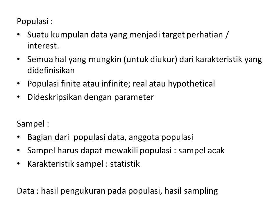 Populasi : Suatu kumpulan data yang menjadi target perhatian / interest. Semua hal yang mungkin (untuk diukur) dari karakteristik yang didefinisikan.