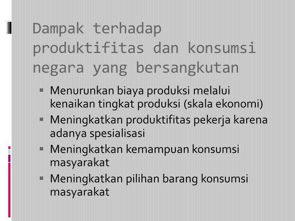 Dampak terhadap produktifitas dan konsumsi negara yang bersangkutan