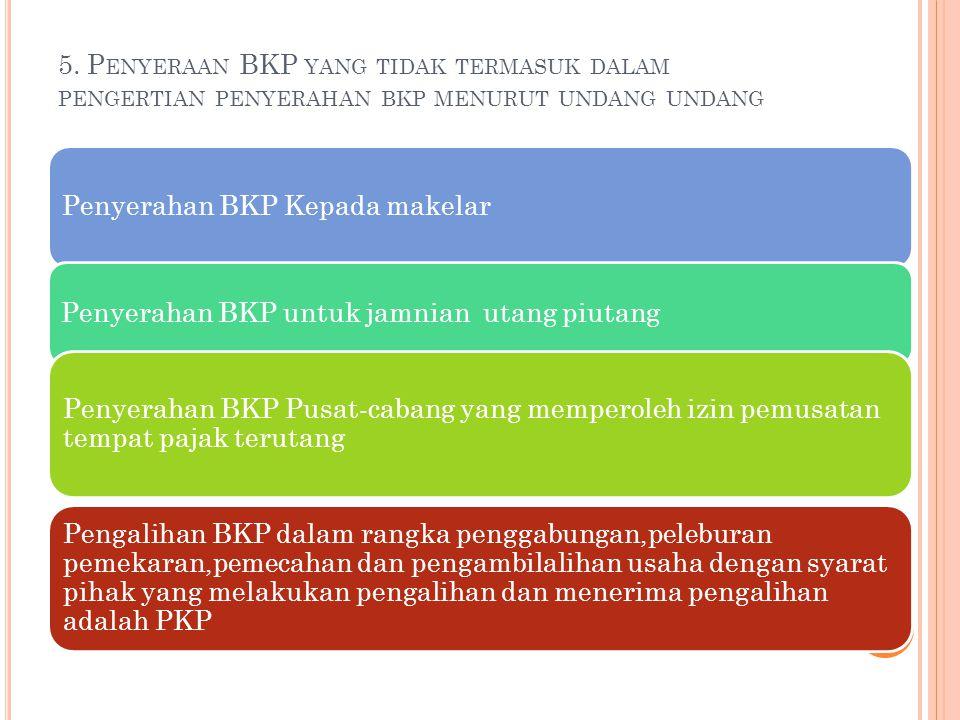 5. Penyeraan BKP yang tidak termasuk dalam pengertian penyerahan bkp menurut undang undang