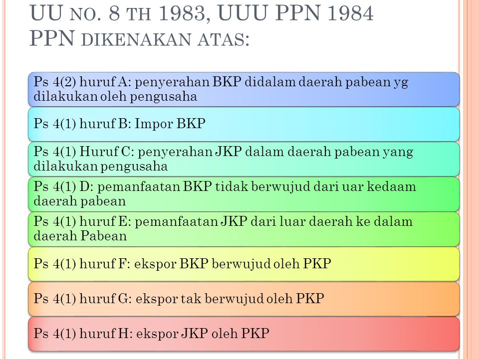 UU no. 8 th 1983, UUU PPN 1984 PPN dikenakan atas: