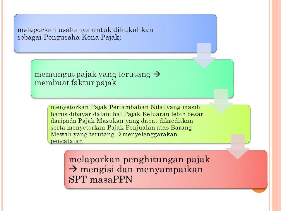 melaporkan penghitungan pajak  mengisi dan menyampaikan SPT masaPPN