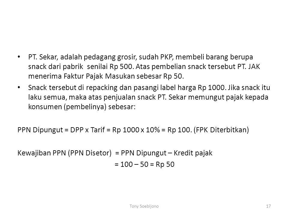PPN Dipungut = DPP x Tarif = Rp 1000 x 10% = Rp 100. (FPK Diterbitkan)