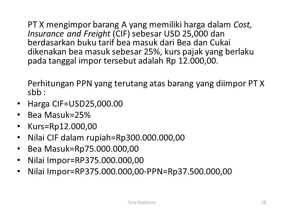 Perhitungan PPN yang terutang atas barang yang diimpor PT X sbb :
