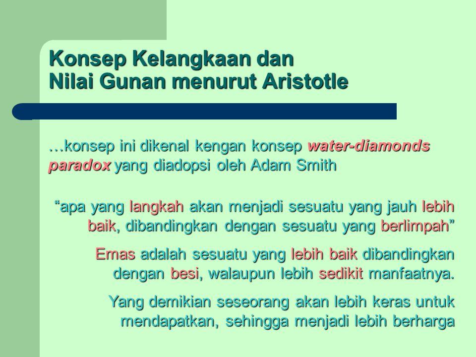 Konsep Kelangkaan dan Nilai Gunan menurut Aristotle