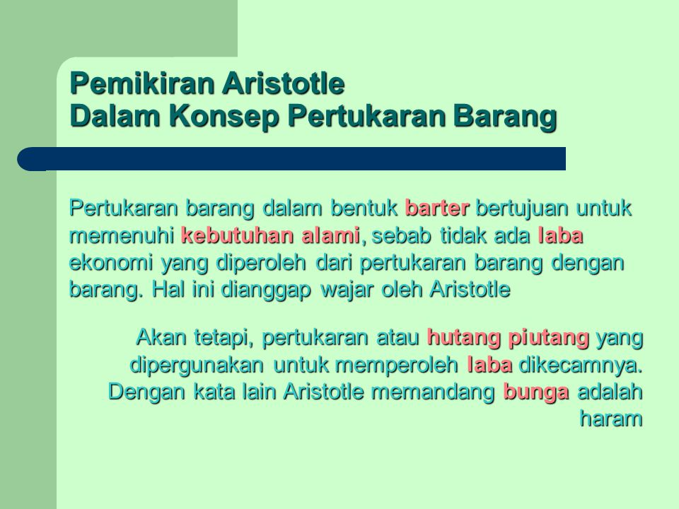 Pemikiran Aristotle Dalam Konsep Pertukaran Barang