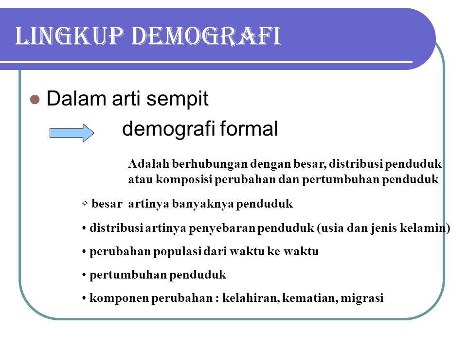 Lingkup demografi Dalam arti sempit demografi formal