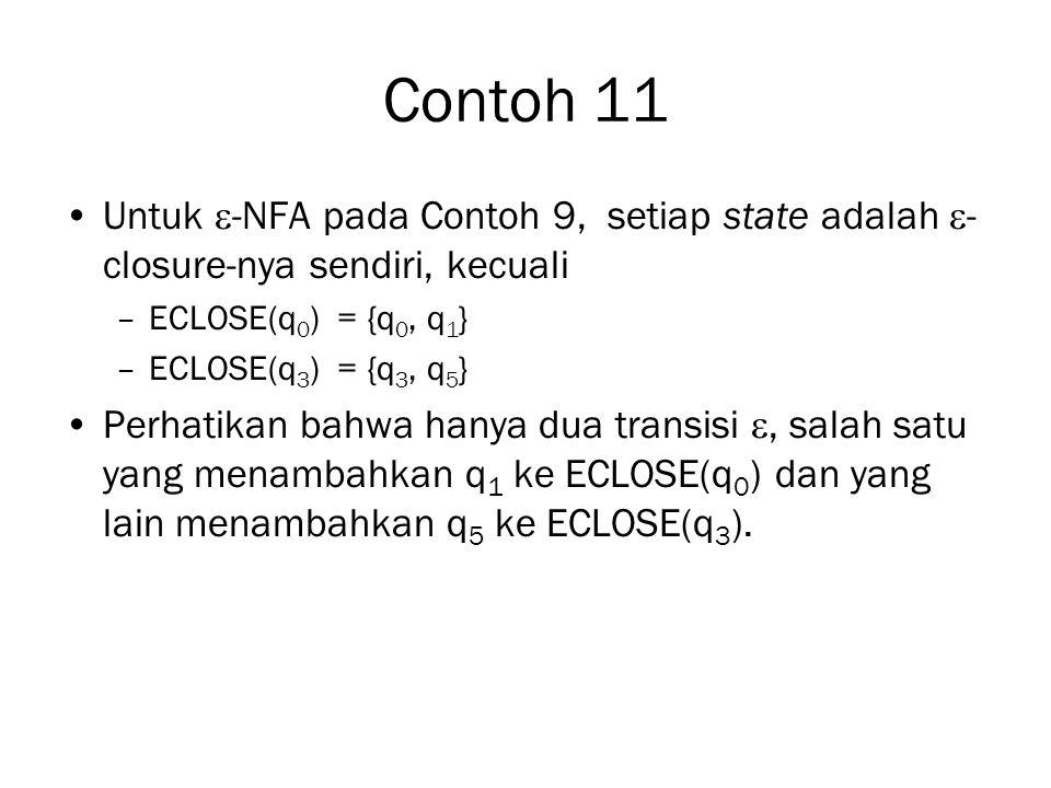 Contoh 11 Untuk -NFA pada Contoh 9, setiap state adalah -closure-nya sendiri, kecuali. ECLOSE(q0) = {q0, q1}