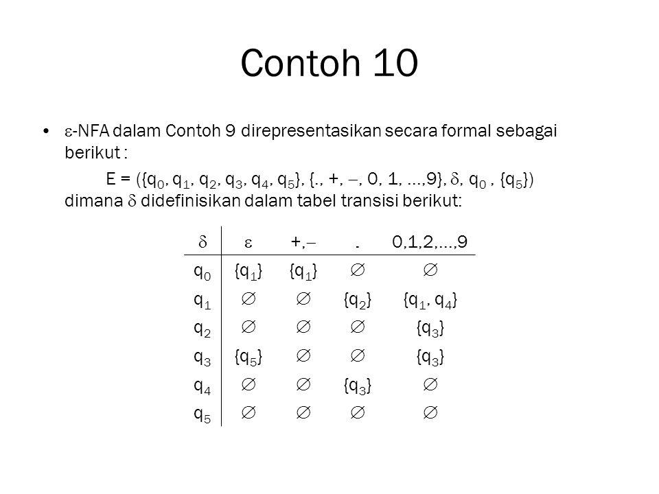 Contoh 10 -NFA dalam Contoh 9 direpresentasikan secara formal sebagai berikut :