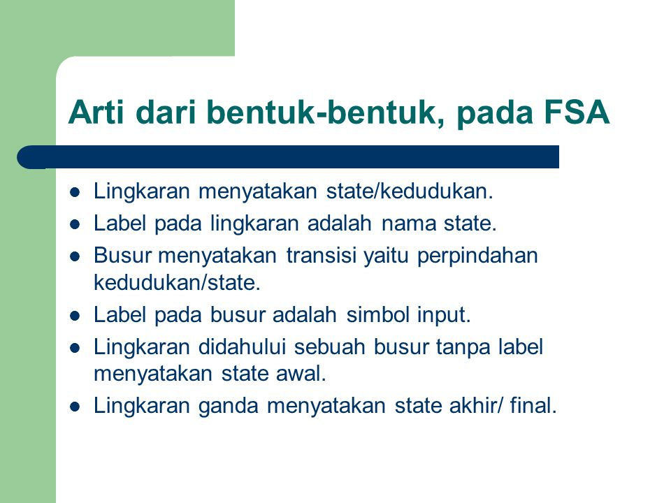 Arti dari bentuk-bentuk, pada FSA